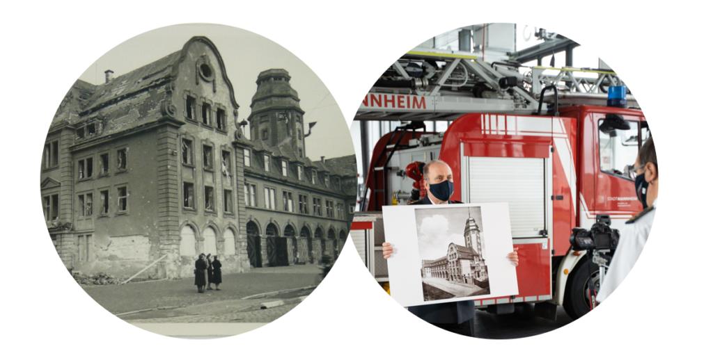 Links Mannheim während des Bombardments, rechts Amtsleiter Karl Heinz Gremm bei den Filmaufnahmen